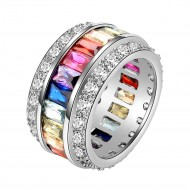 Rhodium Plated Multi-Color Cubic Zirconia Cocktail Statement Ring