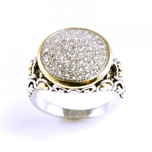 2-Tone Plated With Cubic Zirconia Rings