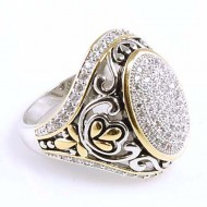 2-Tones Plated with Cubic Zirconia Rings