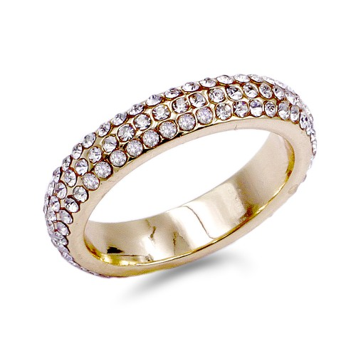 Gold Plated with Round Cut 3 Rows Crystal Paved Eternity Ring