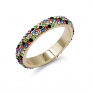Gold Plated With Round Cut 3 Rows Multi Color Crystal Paved Eternity Ring