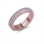 Rose Gold Plated with 3 Rows Crystal Eternity Band Ring