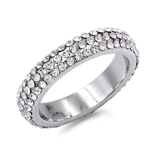 Rhodium Plated with 3-Rows Crystal Eternity Band Ring