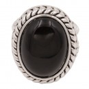 Antique Silver Plated With Black Oval Mother of Pearl Statement Classic Ring
