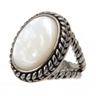 Antique Silver Plated with Oval Mother of Pearl Statement Classic Ring