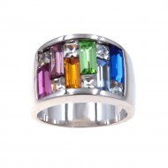 Rhodium Plated with Multi-Color Cubic Zirconia Wide Band Rings