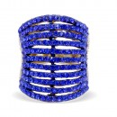 Gold Plated 11 Rows Royal Blue Crystal Statement Cocktail Ring