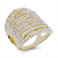 Gold Plated with 11 Rows of Clear Cubic Ziconia Statement Cocktail Ring
