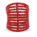 Gold Plated 11 Line Red Crystal Statement Cocktail Ring