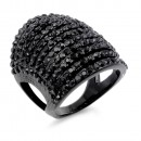 Hematite Tone with 11 Rows of Cubic Ziconia Statement Cocktail Ring