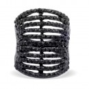 Jet Black Tone with 11 Rows of Cubic Ziconia Statment Cocktail Ring