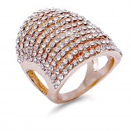 Rose Gold Plated with 11 Rows of Cubic Ziconia Statement Cocktail Ring