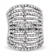 Rhodium Plated with 11 Rows of Clear Cubic Ziconia Statement Cocktail Ring
