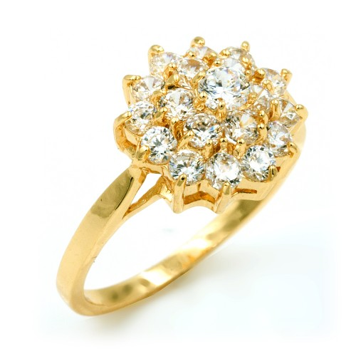 Gold Plated with Cubic Zirconia Wedding Engagement Sized Rings