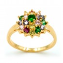 Gold Plated With Multi Color Cubic Zirconia Wedding Engagement Sized Rings
