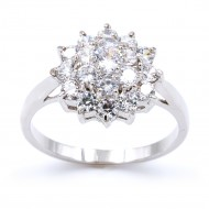 Rhodium Plated with Cubic Zirconia Wedding Engagement Sized Rings