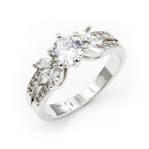 Rhodium Plated with Cubic Zirconia Engagement Sized Rings
