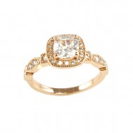 Rose Gold Plated with Cubic Zirconia Wedding Engagement Sized Rings