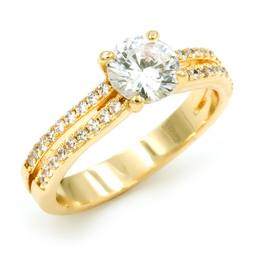 Gold Plated with CZ Cubic Zirconia Wedding Engagement Rings