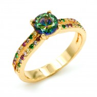 Gold Plated With Multi Color CZ Cubic Zirconia Wedding Engagement Rings