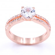 Rose Gold Plated with CZ Cubic Zirconia Wedding Engagement Rings