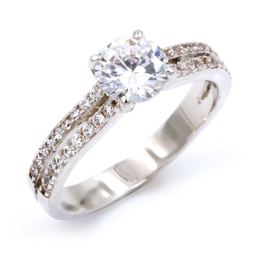 Rhodium Plated with CZ Cubic Zirconia Wedding Engagement Rings