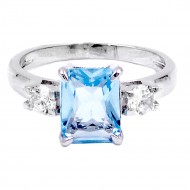 Rhodium Plated with Aqua Blue CZ Engagement Ring
