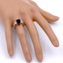 Rhodium Plated With Black CZ Engagement Ring
