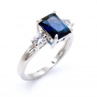 Rhodium Plated with Sapphire Blue CZ Cubic Zirconia Wedding Sized Rings