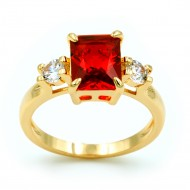 Rhodium Plated with Red Cubic Zirconia Wedding Sized Rings