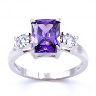 Rhodium Plated With Purple CZ Cubic Zirconia Wedding Sized Rings