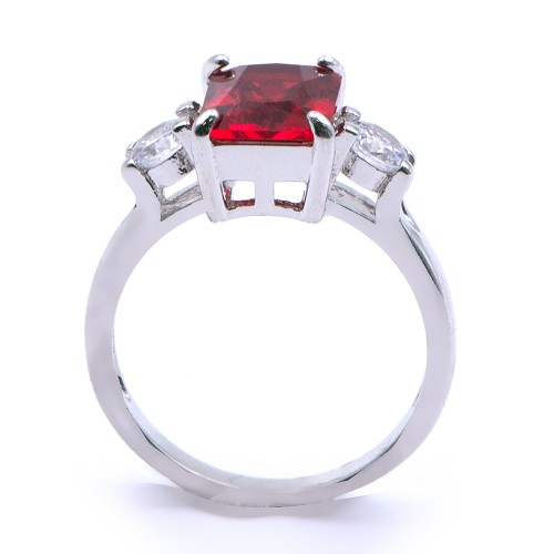 Rhodium Plated With Red Cubic Zirconia  Engagement Rings