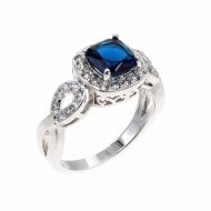 Rhodium Plated with Blue Cubic Zirconia Wedding Statement Halo