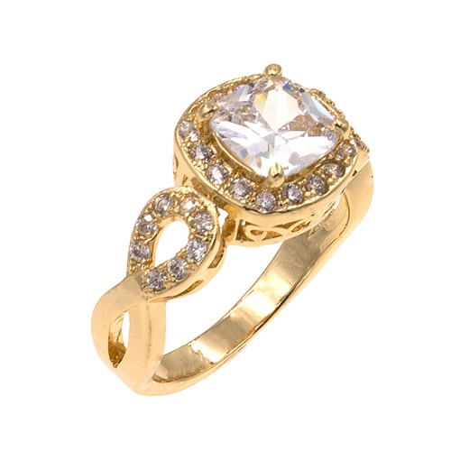 Gold Plated with Clear Cubic Zirconia Wedding Statement Halo Ring