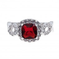 Rhodium Plated with Red Cubic Zirconia Wedding Statement Halo Ring
