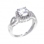 Rhodium Plated with Clear Cubic Zirconia Wedding Statement Halo Ring