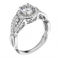 Rhodium Plated Clear CZ Wedding Engagement Ring