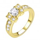 Gold Plated Clear CZ Wedding Statement Ring