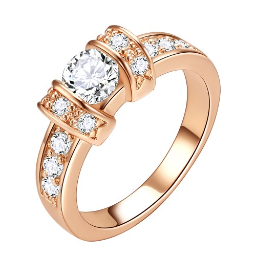 Rose Gold Plated Clear CZ Wedding Engagement Ring