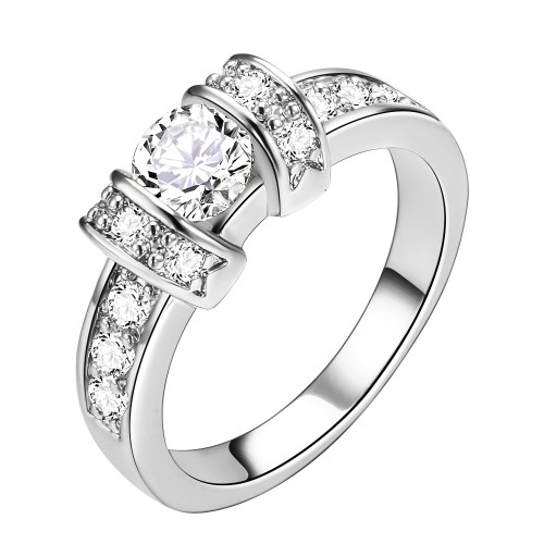 Rhodium Plated Clear CZ Wedding Statement Ring