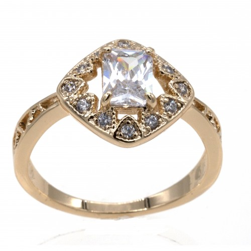 Gold Plated CZ Cubic Zirconia Wedding Engagement Sized Rings
