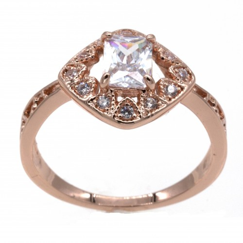 Rose Gold wtih Plated CZ Cubic Zirconia Engagement Ring