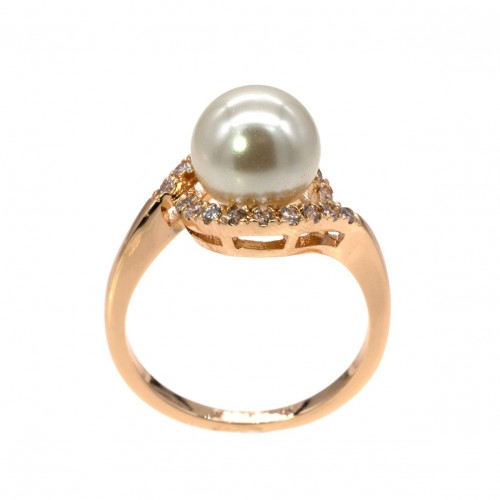 Gold plated Micro Crystal Paved Pearl Statement Ring
