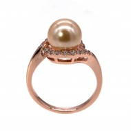 Rose Gold Plated Micro Crystal Paved Pearl Statement Ring