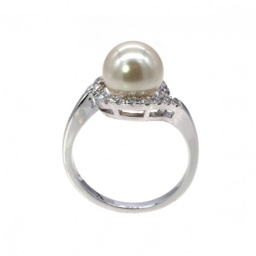 Rhodium Plated Micro Crystal Paved Pearl Statement Ring