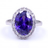 Rhodium Plated with Purple CZ Cubic Zirconia Wedding Engagement Rings