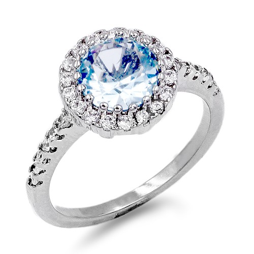 Rhodium Plated With Aqua Blue CZ Engagement Rings