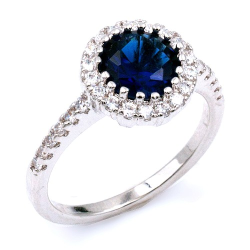 Rhodium Plated With Sapphire Blue Cubic Zirconia Wedding Rings