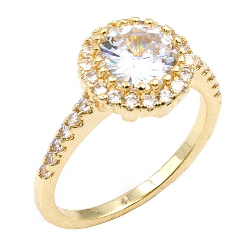 Gold Plated with Clear Cubic Zirconia Wedding Rings
