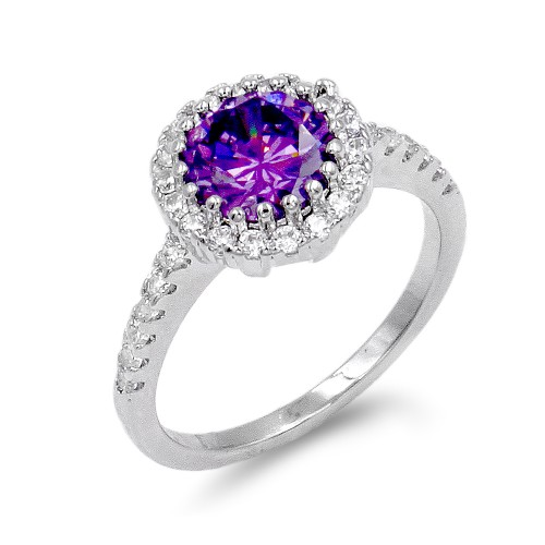 Rhodium Plated With Purple CZ Engagement Rings
